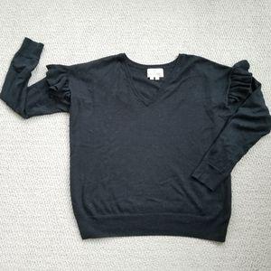Ruffle Sleeve V Neck Sweater
